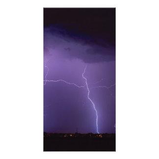 Purple Lightning in a Night Desert Thunder Storm Card