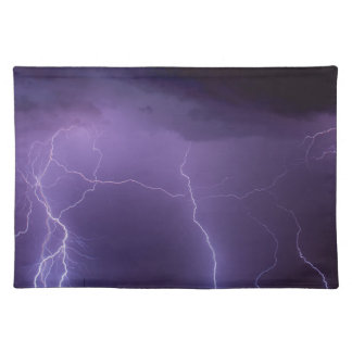 Purple Lightning in a Night Desert Thunder Storm Cloth Placemat