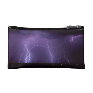 Purple Lightning in a Night Desert Thunder Storm Cosmetic Bags