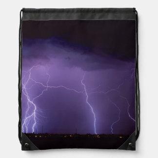 Purple Lightning in a Night Desert Thunder Storm Drawstring Bag