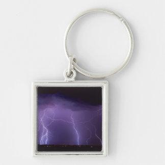 Purple Lightning in a Night Desert Thunder Storm Keychain