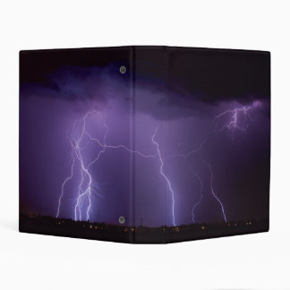 Purple Lightning in a Night Desert Thunder Storm Mini Binder