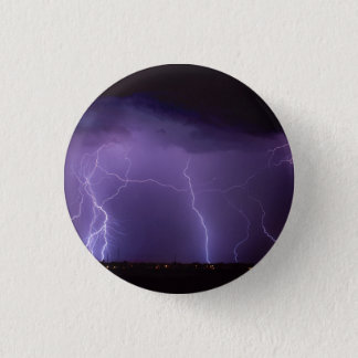 Purple Lightning in a Night Desert Thunder Storm Pinback Button