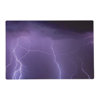 Purple Lightning in a Night Desert Thunder Storm Placemat