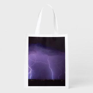 Purple Lightning in a Night Desert Thunder Storm Reusable Grocery Bag