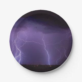 Purple Lightning in a Night Desert Thunder Storm 7 Inch Paper Plate