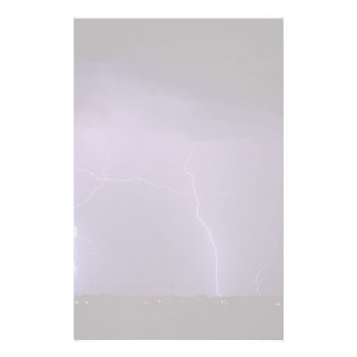 Purple Lightning in a Night Desert Thunder Storm Stationery