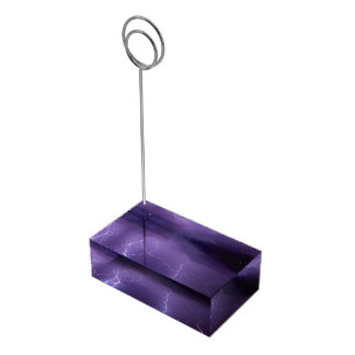 Purple Lightning in a Night Desert Thunder Storm Table Number Holder