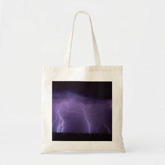 Purple Lightning in a Night Desert Thunder Storm Tote Bag