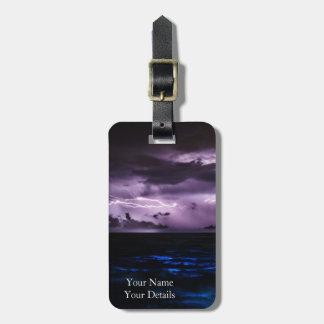 Purple Lightning over the Ocean Bag Tag