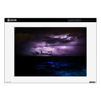 Purple Lightning over the Ocean Laptop Skin