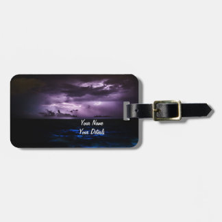 Purple Lightning over the Ocean Luggage Tag