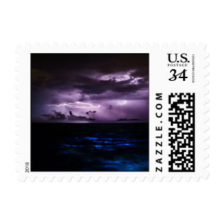 Purple Lightning over the Ocean Postage