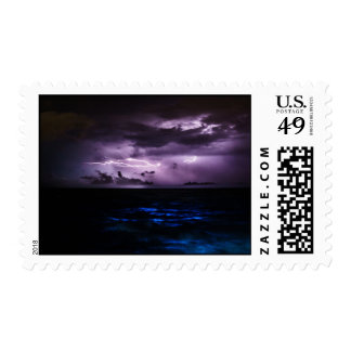 Purple Lightning over the Ocean Postage Stamp