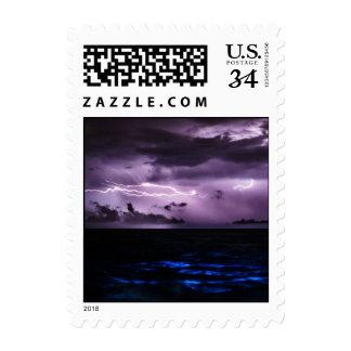 Purple Lightning over the Ocean Postage Stamp