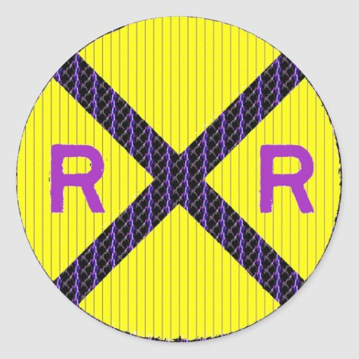 Purple Lightning Railroad Crossing Sign Classic Round Sticker