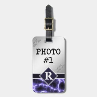 Purple Lightning with Monogram and Your Photos Bag Tag
