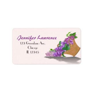 Purple Lilac Basket Address Labels   Customize