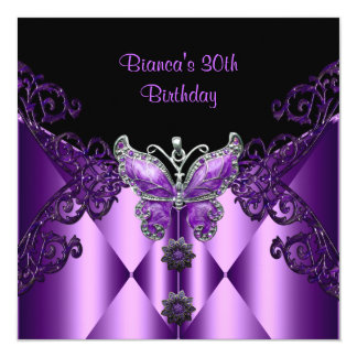 Purple Lilac Butterfly Jewel 30th Birthday Party Card