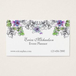 Purple Lilac Columbine Watercolor Flowers Custom Business Card