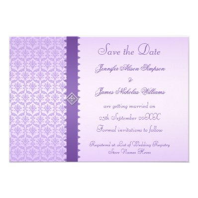 Purple Lilac Damask Save the Date Announcement