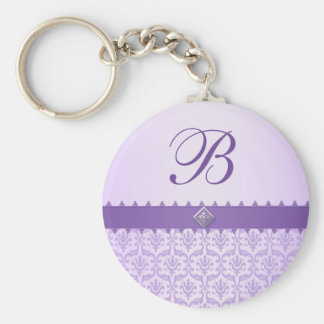 Purple Lilac Damask with Ribbon Monogram Favor Keychains