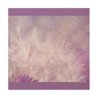 Purple Lilac Dandelion Bohek Wood Print