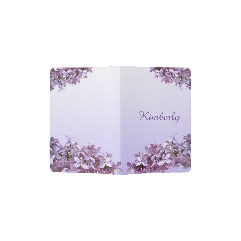 Purple Lilac Floral Design Passport Holder