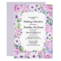 Purple Lilac Flowers Birthday Party Invitation