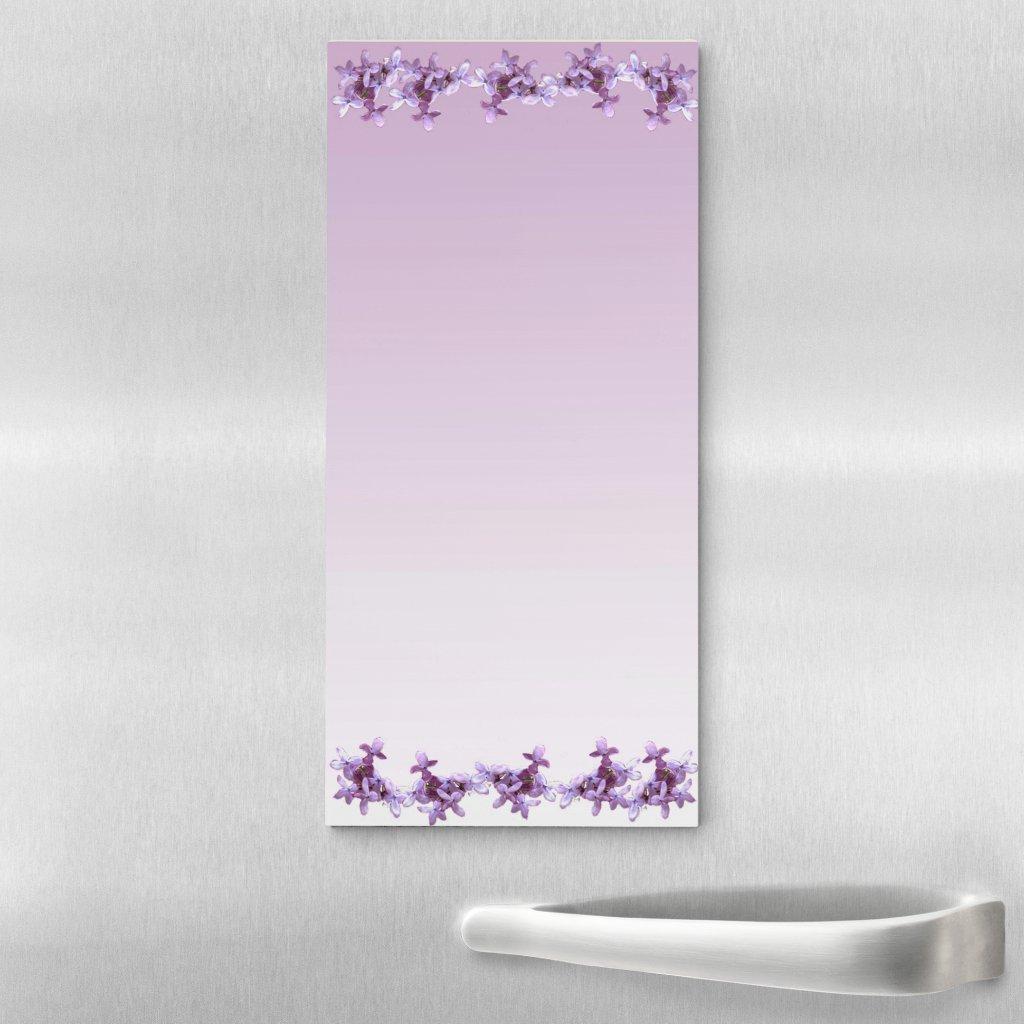 Purple Lilac Flowers Magnetic Fridge Notepad