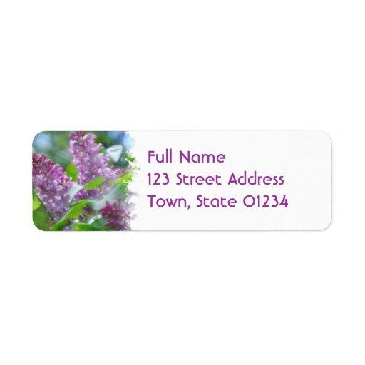 Purple Lilac Flowers Return Address Mailing Label