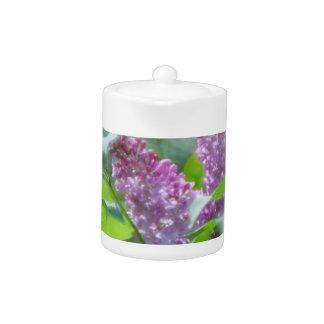 Purple Lilac Flowers Teapot