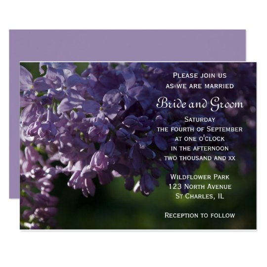 Purple lilac flowers wedding invitation zazzlecom for Lavender avenue wedding invitations