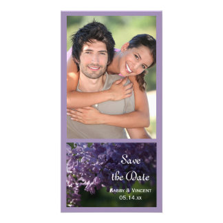 Purple Lilac Flowers Wedding Save the Date Card