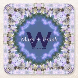 Purple Lilac Fractal Lace Monogram Paper Coasters