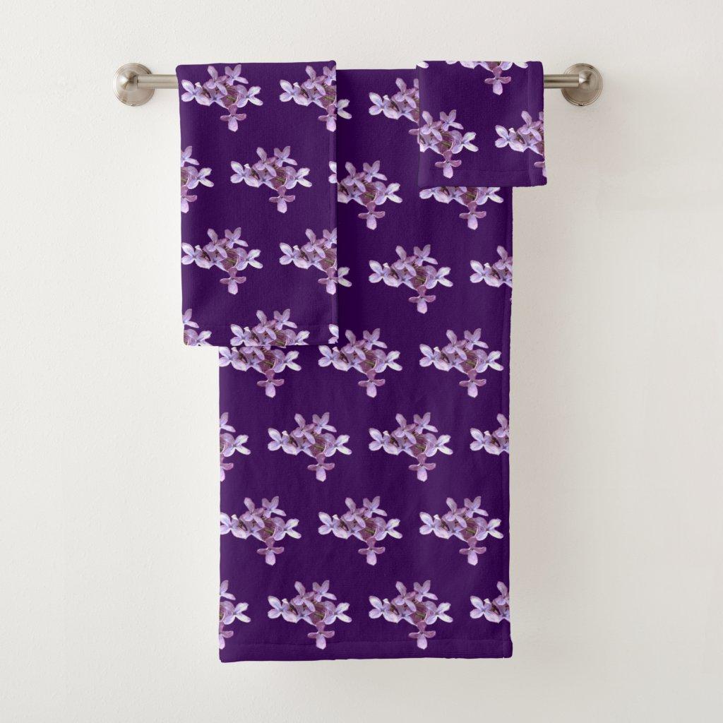 Purple Lilac Garden Flowers Floral Bath Towels