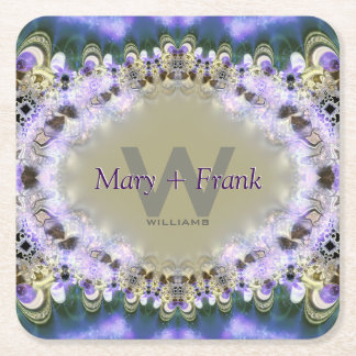 Purple Lilac Gold Lace Monogram Paper Coasters