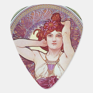 Purple Lilac mucha Art Guitar Pick