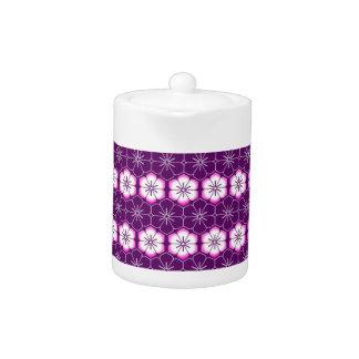 Purple lilac pink floral sakura pattern teapot