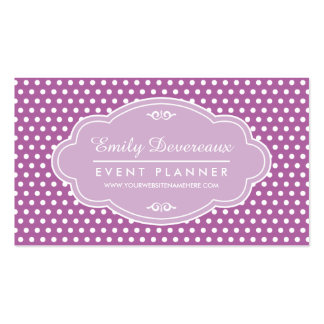 Purple Lilac Polka Dots Personalized Monogram Business Card Template