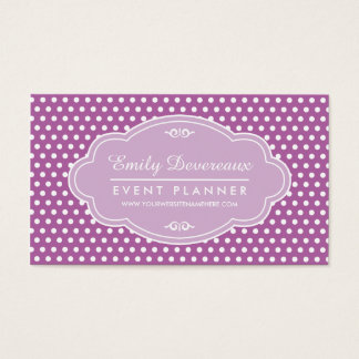 Purple Lilac Polka Dots Personalized Monogram Business Card