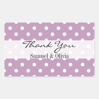 Purple Lilac Rectangle Custom Polka Dots Thank You Rectangular Sticker