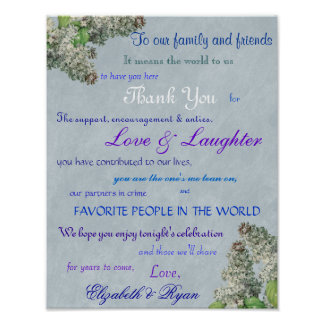 Purple Lilac s Wedding Thank You Posters