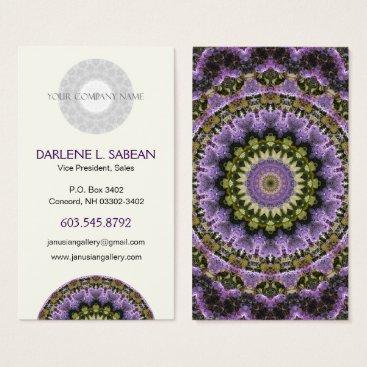 Professional Business Purple Lilac Spring Floral Mandala Kaleidoscope Business Card