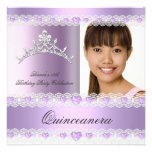 Purple Lilac Tiara Quinceanera 15 Birthday Party Custom Announcements