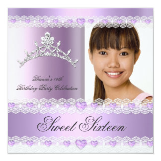 Purple Lilac Tiara Sweet Sixteen 16 Birthday Party 5.25x5.25 Square Paper Invitation Card