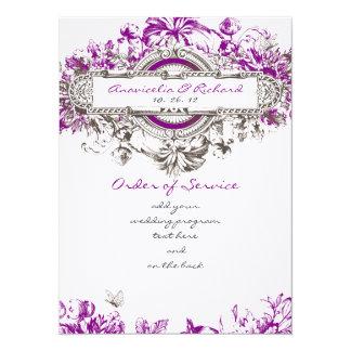 Purple Lilac Vintage Floral Wedding Program Card