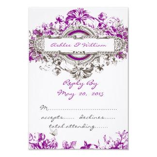 Purple Lilac Vintage Floral Wedding RSVP 3.5x5 Paper Invitation Card