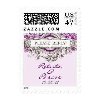 Purple Lilac Vintage Floral Wedding RSVP Postage