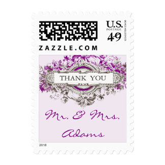 Purple Lilac Vintage Wedding Thank You Postage